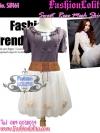 กระโปรงตาข่าย ฟูฟ่องสุคชิค SB161 Mesh Skirt Trendy: ใหม่! กระโปรงตาข่ายฟู่ๆ ติดกุหลาบ สุดเก๋ สีขาวครีม