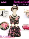 <แบบสาวเกาหลี มีหลายสี>Floral Tops : TB635 ใหม่! เสื้อ/มินิเดรสลายดอกกุหลาบ ผ้าคอตตอนพริ้วทรงสวย ดีไซน์เป็นชั้นๆ พื้นดำลายดอกชมพู