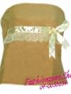 FZS0179 GOLD CREAMY ใหม่! เสื้อเกาะอกลูกฟูก สีครีมอมทอง แต่งด้วยลูกไม้และริบบิ้น