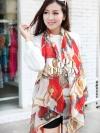 ผ้าพันคอแฟชั่นลายโซ่ Chiffon Chain : สีแดง : ผ้าพันคอ Silk Chiffon 160 x 45 cm