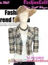 สไตล์Morgan TB627:Vintage Blazer:เสื้อคลุมวินเทจไหล่ตั้ง ลายสก๊อต ผ้าเนื้อดีทำให้มีทรง ดีไซน์สวย