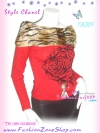 #CheerUp# Annasui Style เก๋ดูดีค่ะ TA389 ::ChicTop ใหม่! เสื้อปกตลบ เฟอร์ลายเสือที่ปก แขนยาวผ้าคล้ายไหมพรมผสมวูล ลายดอกกุหลาบ ดูไฮโซ สีแดง