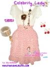 แบบสาวเกาหลี:Celebrity Lady: DB837 ใหม่! ชุดแซก/เดรสแขนสั้น กระโปรงชีฟองระบายเป็นชั้น ผ้าพิมพ์ลาย เฉดขาวแดง สดใสดูดี