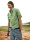 เชิ้ตลำลองแขนสามส่วนแฟชั่นเสื้อผ้าผู้ชายเกาหลีมี2สีสวย