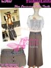 ไซส์38 [เอาใจสาวอวบ] LPB267-38 Wide Pants กางเกงขาบาน/กางเกงกระโปรง เอวสูงเก็บหน้าท้องดีสวยผ้านอกไม่ต้องรีด สีน้ำตาล