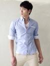 เชิ้ตลำลองแขนสี่ส่วนขลิบขาวแฟชั่นเสื้อผ้าผู้ชายเกาหลีมี2สี