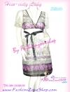 ผ้าชีฟองแบบสวย เชียร์! DB616 Korea Girl ใหม่! แซคแขนตุ๊กตาคอวี ผ้าชีฟอง มีโบผูก ผ้าลายเชิงหรูสวยเก๋