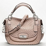 Coach new kristin woven leather round satchel # 19312 สี Silver / Tuberose