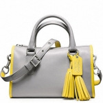 Coach Archive Two Tone Satchel # 23418 สี Silver/Grey/Lemon