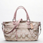 Coach Poppy Metallic Signature Sateen Rocker Satchel # 18984 Sv/Cream Light Khaki Petal