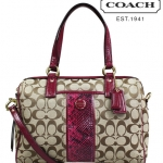 COACH SIGNATURE STRIPE SATCHEL PURSE CROSSBODY F24884 สี KHAKI RASPBERRY