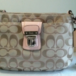 COACH SIGNATURE SWING PACK CROSSBODY SHOULDER BAG  STYLE# 47018  KHAKI /PETAL
