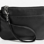 COACH Leather Small Wristlet # 45651 Black