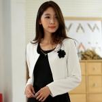 เสื้อคลุมแจ็คเก็ตไซส์ใหญ่ สีดำ/สีขาว คลาสสิก แขนยาว (XL,2XL,3XL)