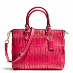 Coach Ashley Gathered Leather Mini Tote Tote # 23972 สี BRASS/RASPBERRY
