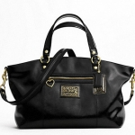 Coach Daisy Liquid Gloss Large Satchel # 23402 สี Black
