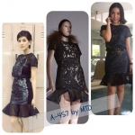 A-457 New Arrival Set Vickteerut Black Sequins Top & Black Sequins Skirt In Metropolis S/S 2013