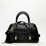 COACH POPPY LEATHER PUSHLOCK SATCHEL #17888  BRASS/BLACK