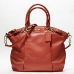 COACH MADISON LEATHER LINDSEY SATCHEL #18641  B4 / TERRACOTTA