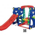 Pro-10-57-12 (PGGT-804) สไลด์หมีน้อย 4 อิน 1 สไลด์ + ชิงช้า + เสียงเพลง + แป้นบาส สีน้ำเงิน
