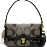 Promotion ลค.เก่า !! COACH POPPY METALLIC SIGNATURE LAYLA Pushlock Crossbody# 18136 สี Brass Black