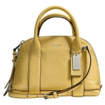 Coach Bleecker Mini Preston Satchel in Pebbled Leather # 30143 สี Pale Lemon
