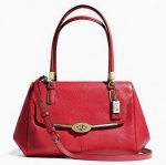 COACH MADISON SMALL MADELINE EAST/WEST SATCHEL IN LEATHER # 25169 สี SCARLET