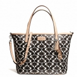Coach 26201 Park Metro Dream C Small Tote #Silver/Black/White/Black
