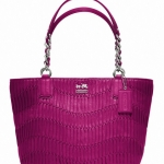 COACH MADISON GATHERED LEATHER TOTE BAG # 20522 สี Magenta