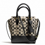 COACH LEGACY MINI TANNER CROSSBODY IN PRINTED SIGNATURE FABRIC # 50495 สี B4/KHAKI BLACK/BLACK