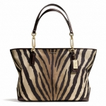 Coach Madison East/West Tote in Zebra Print Fabric # 26881