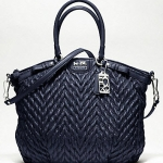 COACH New madison quilted chevron nylon large lindsey # Blue