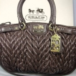  ++  coach MADISON QUILTED CHEVRON NYLON SOPHIA SATCHEL# 18637 Brown