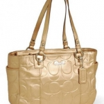 Coach Embossed Metallic Gold Leather Gallery Tote Handbag # 17727