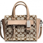 PROMOTION ลูกค้าเก่า !!! COACH BLEECKER MINI RILEY CARRYALL IN PRINTED SIGNATURE FABRIC # 30168 สี Light Khaki Madeira/Vachetta