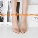 [พร้อมส่ง] รองเท้าส้นสูง สีชมพูอ่อน สีดำ หัวแหลม มีสายรัดส้นข้างหลัง ไซส์37#38#39#
