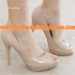 [พร้อมส่ง] รองเท้าส้นสูงสีชมพูนู้ด ไซส์3 39#
