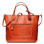 COACH POPPY TEXTURED PATENT SMALL BLAIRE TOTE # 25042 สี Brass/Desert Sky(Orange)