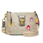 COACH POPPY EMBROIDERED SIGNATURE SWINGPACK # 48425 สี SV / Light Khaki / Multi