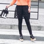 กางเกงกระโปรงเลกกิ้งไซส์ใหญ่สีเทา/สีดำ กระโปรงชายยักแต่งสวย (XL,2XL,3XL)