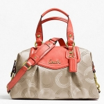 COACH ASHLEY DOTTED OP ART SATCHEL # 20027 สี Khaki/Tearose
