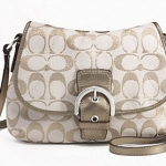 Coach SOHO SIGNATURE METALLIC FLAP CROSSBODY # 47007  Gold