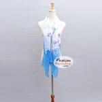ผ้าพันคอแฟชั่นลายดอกไม้ : สีฟ้า CK0260