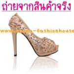 [พร้อมส่ง] รองเท้าส้นสูง สีชมพู ปักเลื่อม ไซส์37#38#