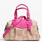 COACH ASHLEY DOTTED OP ART SATCHEL # 20027 สี KHAKI/FUCHSIA