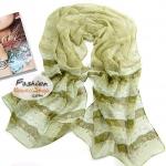 ผ้าพันคอแฟชั่นลายดอกไม้ Blossom : สีเขียว CK0103