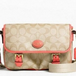 Coach  Peyton Field Bag # 48759 สี LIGHT KHAKI/PAPAYA