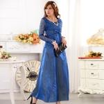 ชุดราตรีผ้าซาตินแต่งผ้าลูกไม้ สีน้ำเงิน/สีม่วง/สีส้ม (XL,2XL,3XL)