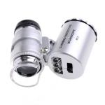 กล้องจิ๋ว กล้องส่อง กำลังขยาย 60x พร้อมไฟ LED และ ไฟ UV ตรวจแบงก์ปลอม + ซองหนัง