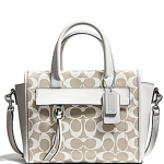COACH BLEECKER MINI RILEY CARRYALL IN PRINTED SIGNATURE FABRIC # 30168 สี Ivory New Khaki/White